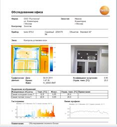 Краткий отчёт составленный в програмном обеспечении IRSoft тепловизора Testo